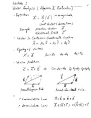 EE101 Vector Analysis Notes