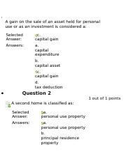 A gain on the sale of an asset held for personal use or as an investment is considered a.docx