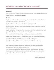 Agreement Contract for the Sale of an Iphone 7