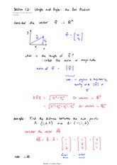 Math 2730 Dot Product Notes