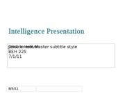 Intelligence Presentation