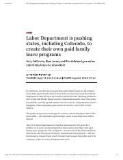 Labor Department is pushing states, inc...amily leave programs – The Denver Post