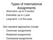 Types of International Assignments