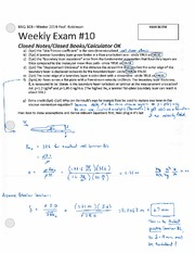 ENG 103 Winter 2014 SKR Weekly Exam 10 Solution