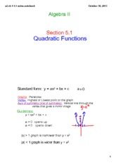 quadratic functions notes
