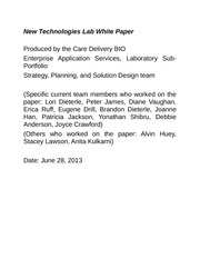 New Technologies Lab White Paper v0.1