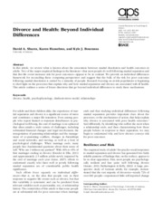 Sbarra et al Divorce and health Beyond individual differences