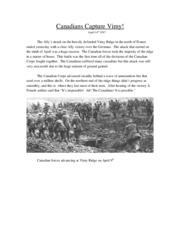 Histoy Canadians Capture Vimy