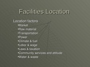 Facilities Location