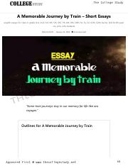 11 A Memorable Journey by Train - Short Essays _ The College Study