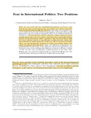 Fear in International Politics
