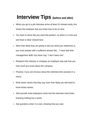 Interview Tips (before and After)