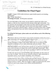 Guidelines for final paper
