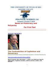 Political Science 2305 Notes for First Test on Plutocracy, Polyarchy Summer Session I 2018.doc
