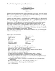 ReviewWorksheet-Light_Photosynthesis_Res