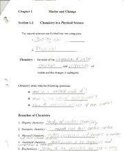 Chemistry- Matter and Change notes
