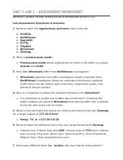 UNIT 1 LAB 1 – ASSESSMENT WORKSHEET