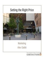 180-MKTG-Pricing - Setting the Right Price
