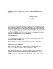 Globalization in Historical Perspective Syllabus