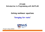 WEEK 7 LECTURE 02 NONLINEAR EQUATIONS I - INTRO