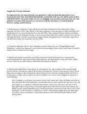 Sociology of Law Sample Essay Questions Test #2.docx