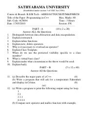 (www.entrance-exam.net)-Sathyabama University B.EB. Tech in CSE-IInd Semester Programming in C++ Sam