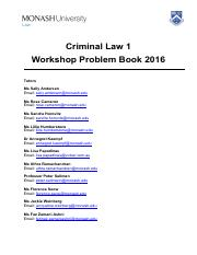 Criminal Law 1 Workshop book 2016