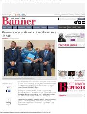 Governor says state can cut recidivism rate in half _ Bay State Banner _ Serving