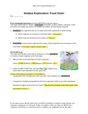 Student Exploration Food Chain Activity A + mvphip Answer Key