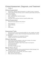 Clinical Assessment Diagnosis Treatment ch 4 notes