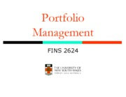 Week 1_Portfolio Management