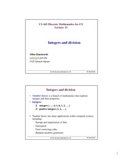 Lecture Notes on Integers and divisions. Congruency. CS applications
