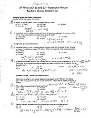 Ch 11 and 12 Rotational Motion MC Solutions