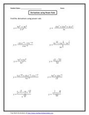 Train Electric Power Rule Derivative Quiz Worksheet Power Rule For ...