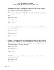 Exploration P1 - P2 (Worksheet)