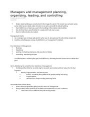 Managers and management planning, organizing, leading, and controlling