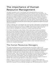 The importance of Human Resource Management.docx