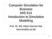 Computer Simulation for Business  Lecture 1