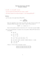 Final Exam Solution on Calculus III Fall 2010