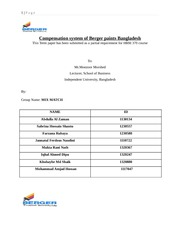 Compensation system of Berger paints Bangladesh
