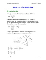 Lecture 17 Turbulent Flow