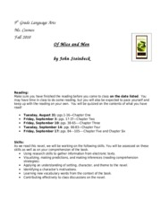 Of Mice and Men Unit Overview