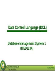 Lesson 9 - Data Control Language.ppt
