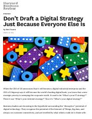 Don't Draft a Digital Strategy Just Because Everyone Else Is