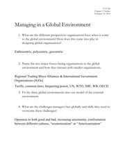 Managing in a Global Environment Notes