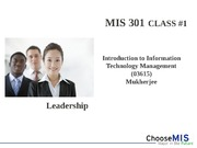 Class 01 - Intro to MIS 301(1)