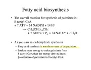 Chapter 21 Fatty Acid (Lipid) Biosynthesis