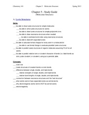 Chapter 5 Study Guide - Molecular Structure