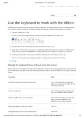 Use the keyboard to work with the ribbon
