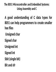chap7 - Chapter 7 8051 Programming in C 1 Objective Since